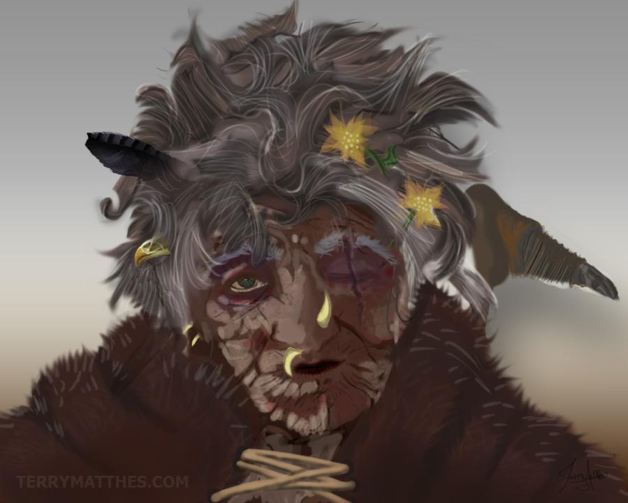 Concept for female corrupt elderly prehistoric explorer