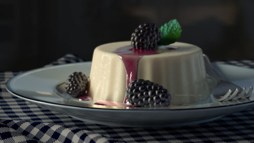 Blackberry Panacotta Render in VRay